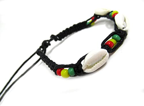 Handwoven Macrame Sacred Turtle Cowrie Shell Native Tribal Unisex Adjustable Bracelet 1pc