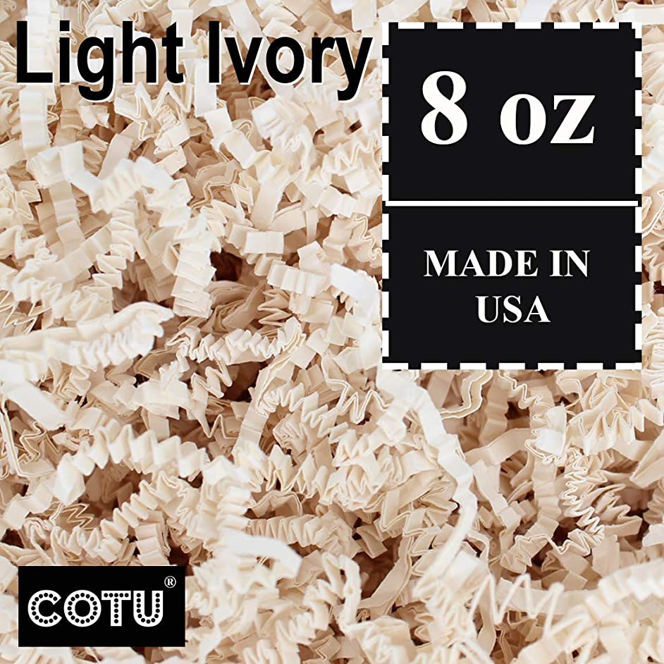 1/2 LB Light Ivory Crinkle Shred Gift Basket Shred Crinkle Paper Filler Bedding by COTU (8 oz)