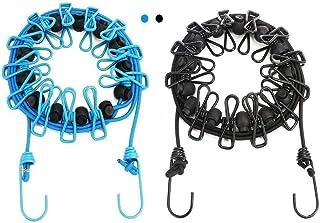 Funmo Paquet de 2 Cordes à Linge Portables avec 12 épingles à Linge, Corde à Linge rétractable Portable, Utilisation extér...