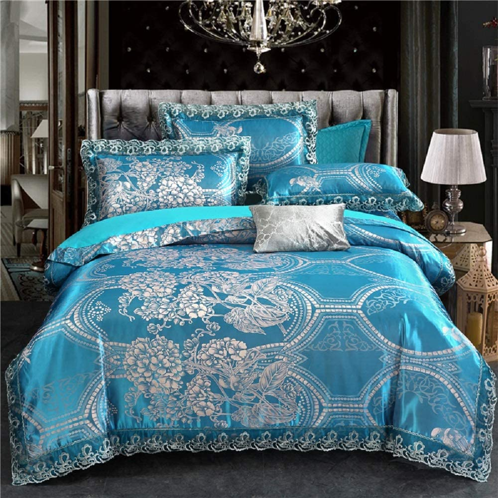 Buy PYCLIFE Lace Jacquard Duvet Cover,Luxury Bedding,3-Piece Duvet Covers,Blue  Bedding Sets King Size,No Comforter (Blue, King) Online in Indonesia.  B07K5XGPR5