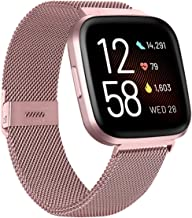 ZWGKKYGYH Compatible with Fitbit Versa and Versa 2 Bands for Women Men, Rose Gold Stainless Steel Metal Mesh Magnetic Band...