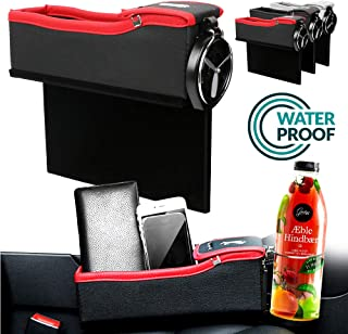 ALLYAOFA Car Seat Gap Filler, Car Seat Crevice Storage Box, with Cup Holder & Coin Box Multi-Functional Premium PU Leather...