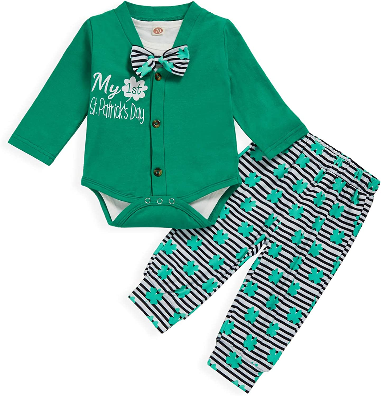 Baby Girl 1st St. Patricks Day Outfits Lucky Charm Romper+Clover Pants+Headband 3Pcs Outfits Set