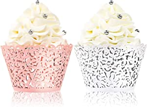 BAKHUK 100pcs Lace Cupcake Wrapper, Laser Baking Cup Liners Holders Muffin Case Trays for Wedding Anniversary Baby Shower ...
