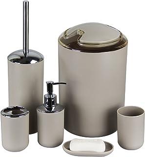 IMAVO Bathroom Accessories Set,MYTOP 6 Pcs Plastic Toothbrush Holder,Toothbrush Cup,Soap Dispenser,Soap Dish,Toilet Brush ...