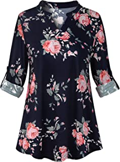 Cucuchy Womens Casual 3/4 Roll-Up Sleeve Tunic Floral Henley V Neck Blouses