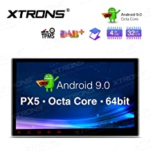XTRONS 10.1 Inch Android 9.0 Car Stereo Radio DVD Player Universal Double Din GPS Navigator Octa Core 4G RAM 32G ROM Multi-Touch Screen Adjustable Viewing Angles Head Unit Supports OBD2 TPMS WiFi