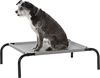 AmazonBasics Extra Small Elevated Cooling Pet Dog Cot Bed - 28 x 21 x 7 Inches, Grey