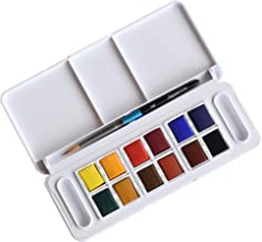 Daler-Rowney Aquafine 12 Half Pan Travel Watercolor Set, Assorted Colors