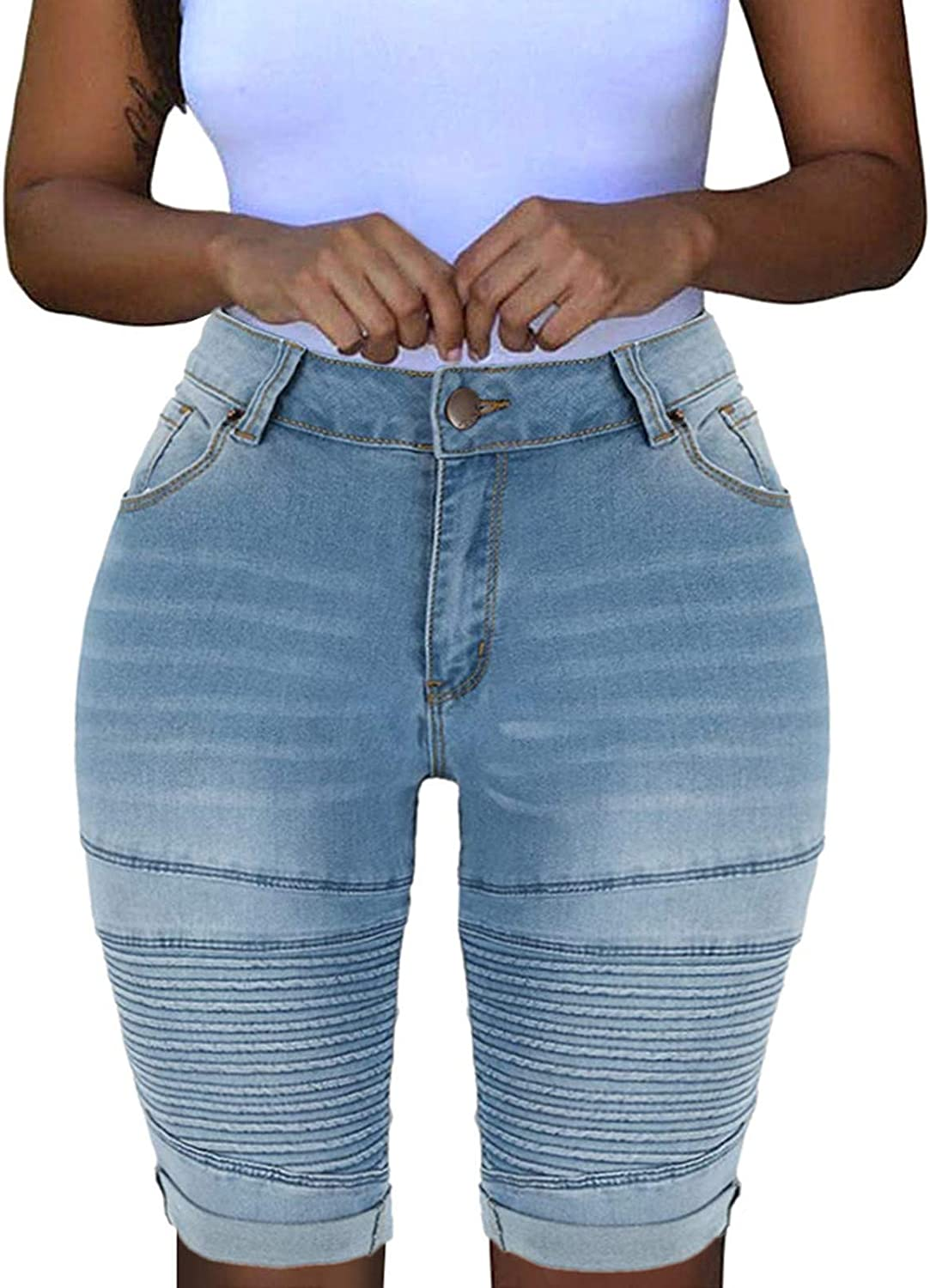 Women High Waisted Stretchy Jean Shorts Casual Summer Slim Fit Washed Distressed Rolled Hem Denim Shorts with Pocket