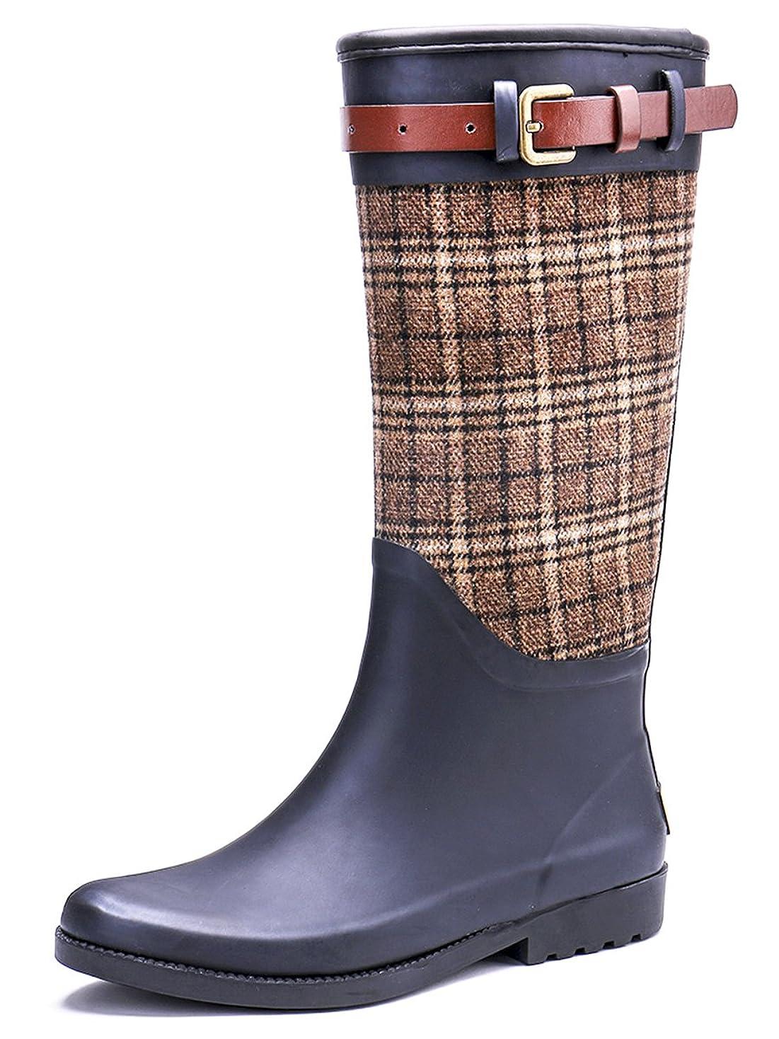 一目ニュースチャールズキージング[トングプー] レディース ベルト付 ロング丈 レイン ブーツ 長靴 作業靴 雨靴 防水 おしゃれ