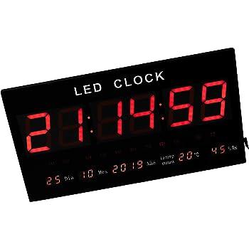 JeVx Reloj Digital de Pared Tamaño Gigante Luz Led de Color Rojo Indicador de Humedad Relativa Temperatura Calendario Termometro Fuente de Alimentacion: Amazon.es: Hogar