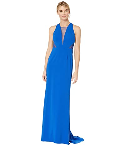 Adrianna Papell Long Jersey Gown with Illusion Mesh Inset Detail (Royal) Women