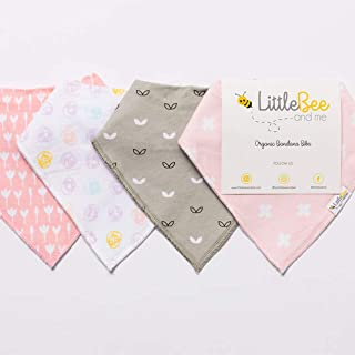 Baby Bandana Drool Bib Set of 4 for Girls, Organic Super Absorbent, Soft, Chic Drooling and Teething Bibs (Dots & Blossoms...