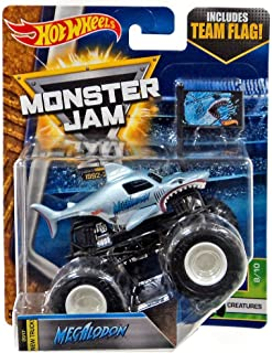 Monster Jam MEGALODON 2017 HOT WHEELS TRUCK CREATURES 8/10 CASE Q w/ TEAM FLAG