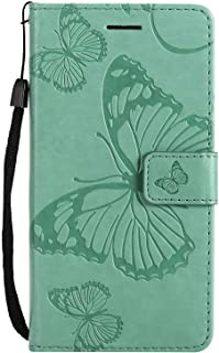 CUSKING Case for Samsung Galaxy J5 Prime, Leather Flip Cover Magnetic Wallet Case with Butterfly Embossed Design, Case with Card Holders and Kickstand - Green