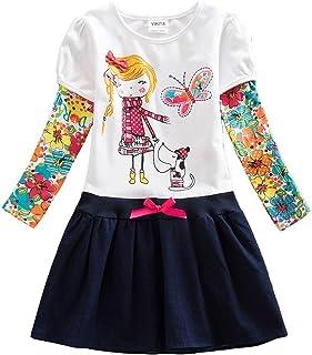 Vestido de manga larga para niña, algodón, diseño de dibujos animados, 2-8 años