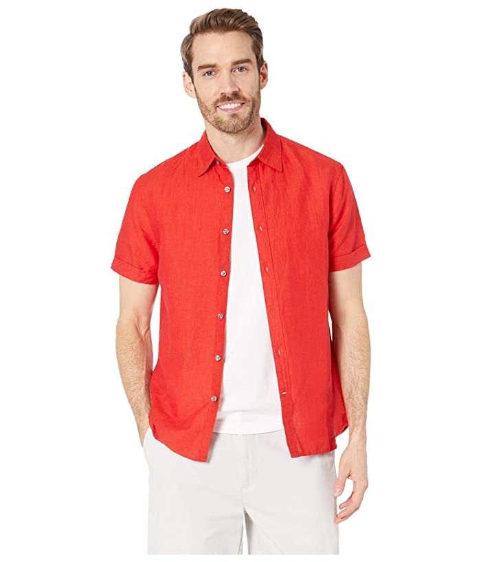 Perry Ellis  Short Sleeve Solid Linen Cotton Shirt (Haute Red) Mens Clothing