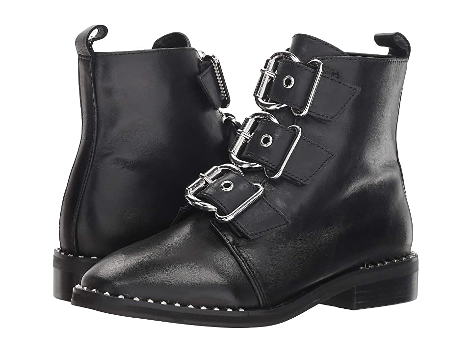 Steve Madden Recharge Moto Bootie (Black Leather) Women
