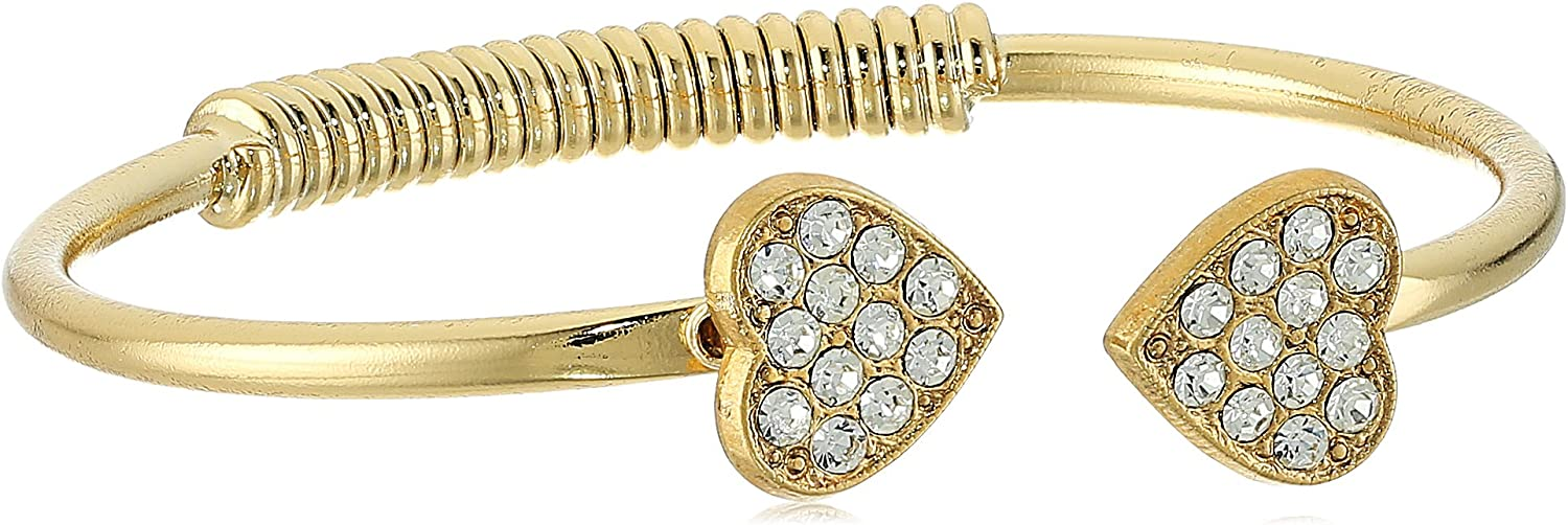 1928 Jewelry 14K Gold-Dipped Pave Crystal Heart Coil Spring C-Cuff Bracelet