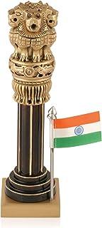 CraftVatika Small Wooden Decorative Ashok Pillar National Emblem India Ashoka Stambh Statue Showpiece Home Office Table De...