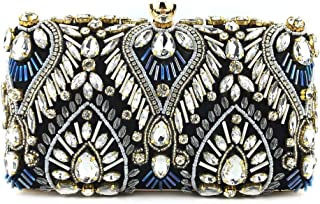 LVfenghe Women's Luxury Diamond Beaded Square Wedding Clutch Party Gift Bride Bridesmaid Evening Bag Metallic Gold Chain Shoulder Wallet Size: 18 * 5.5 * 10cm (Color : Black)
