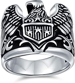 Mens Biker Big Statement Patriotic USA Flying Bird American Symbol Bald Eagle Signet Ring For Men 925 Sterling Silver