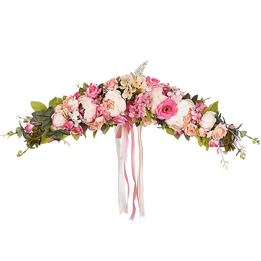 Lvydec Artificial Poeny Flower Swag, 25 Inch Decorative Swag with Pink Poeny and Roses, Green Leaves and Silk Ribbon for Wedding Arch Front Door Wall Decor