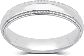 14K Plain White Gold 4 MM Milgrain Wedding Band