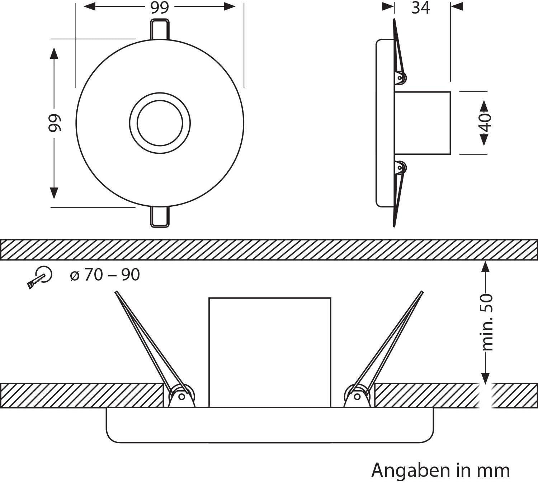 ledscom.de E27 Porzellan Decken-Einbauleuchte Tela, rund, schwarz, 99mm, inkl. Leuchtmittel 800lm 7W=63W warm-weiß, 6 STK. 480lm (=42 W) / Lichtfarbe: Extra Warmweiß