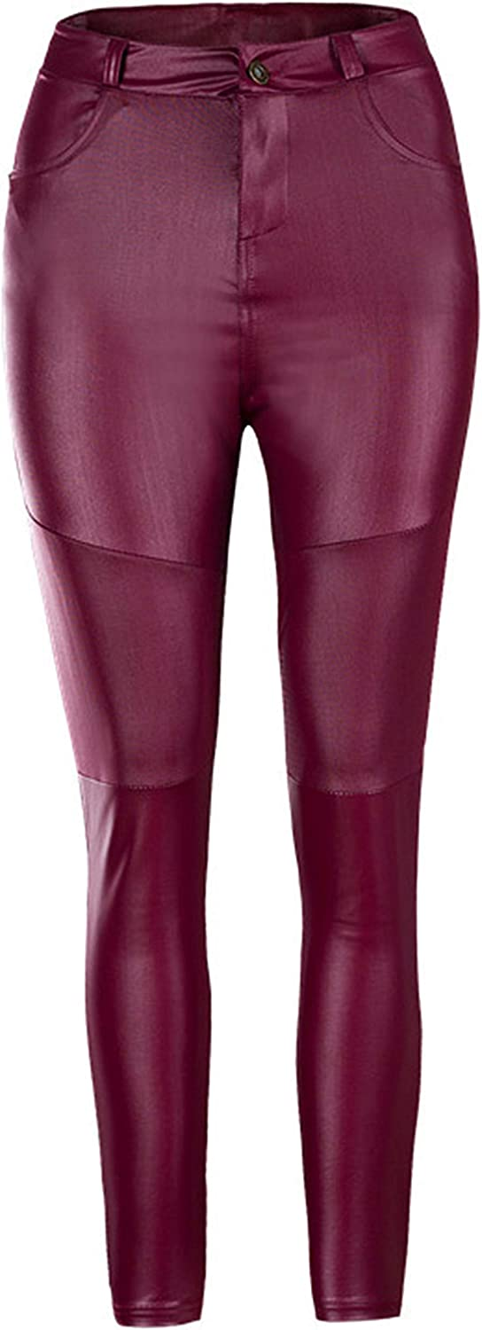Andongnywell Faux Leather Leggings for Womens High Waisted Stretch Leather Pants skicnny fit Trousers