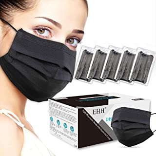 EHH Black Disposable Face Mask, Breathable & Comfortable, 3- Ply, with Elastic Ear Loop (50 Pcs), Black