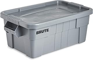 Rubbermaid Commercial Brute Tote Storage Bin With Lid, 14-Gallon, Gray (Fg9S3000Gray)