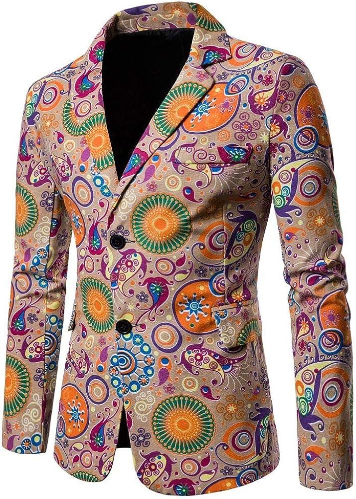 MODOQO Men's Dashiki Cardigan Suit Slim Fit Fashion Blazer for Party Prom