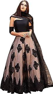 2ad5703cfc7 Janvi fab fashion women's Embroidered multi colour Semi Stitched lehengas,  lehenga choli (Black_JK1,