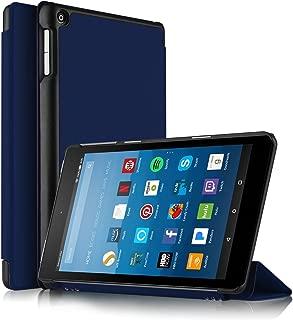 IVSO Fire HD 8 (Newモデル)ケース, New Fire HD 8 2017カバー 手帳型 高級PUレザー マルチアングルスタンド 衝撃吸収 おしゃれ 極薄 超軽量 傷つけ防止 耐久性 装着やすい 卓上用 簡素なデザイン 全面保護型 5色可選(ブルー)
