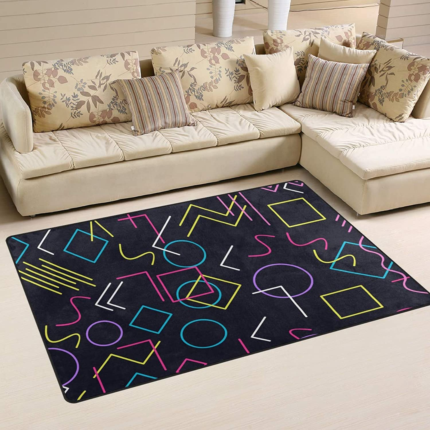 FANTAZIO Area Rug color Geometry Letter Entry doormats Straight Carpet Gripper Polyester for Corners and Edge Anti-Curling Ideal Rug Stopper for Kitchen Bathroom 31x20in 60x39in