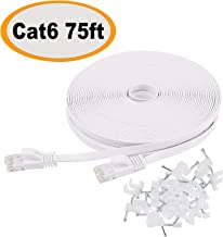 Cat 6 Ethernet Cable 75 ft Flat with Clips, Durable Long Internet Network LAN Patch Cords, Solid Cat6 High Speed Computer wire with RJ45 Connectors for Router, Modem, PS, Faster Than CAT5E/Cat5, White