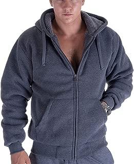 Men's Heavyweight Sherpa Lined Zip Up Hoodie Thick Warm Winter Outdoor Jacket Hooded Sweatshirt