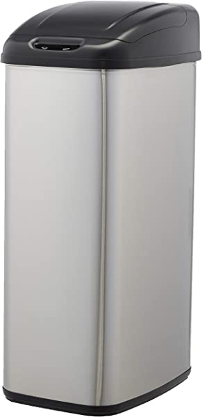 AmazonBasics Automatic Stainless Steel Trash Can For Narrow Spaces 50 Liter