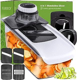 Fullstar Mandoline Slicer Spiralizer Vegetable Slicer - Cheese Slicer Food Slicer 6-in-1 Vegetable Spiralizer Potato Slice...
