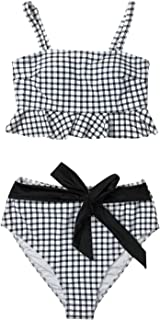 Women's Black White Gingham Swimsuit Ruffles Two Pieces Bikini Set