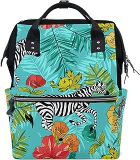 My Little Nest Large Capacity Baby Diaper Bag Blue Tropical Zebras Durable Multi Function Travel Backpack for Mom Girls
