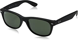 Ray-Ban Sunglasses New Wayfarer RB2132-622, 55mm size, Black rubber frame/Crystal Green lens