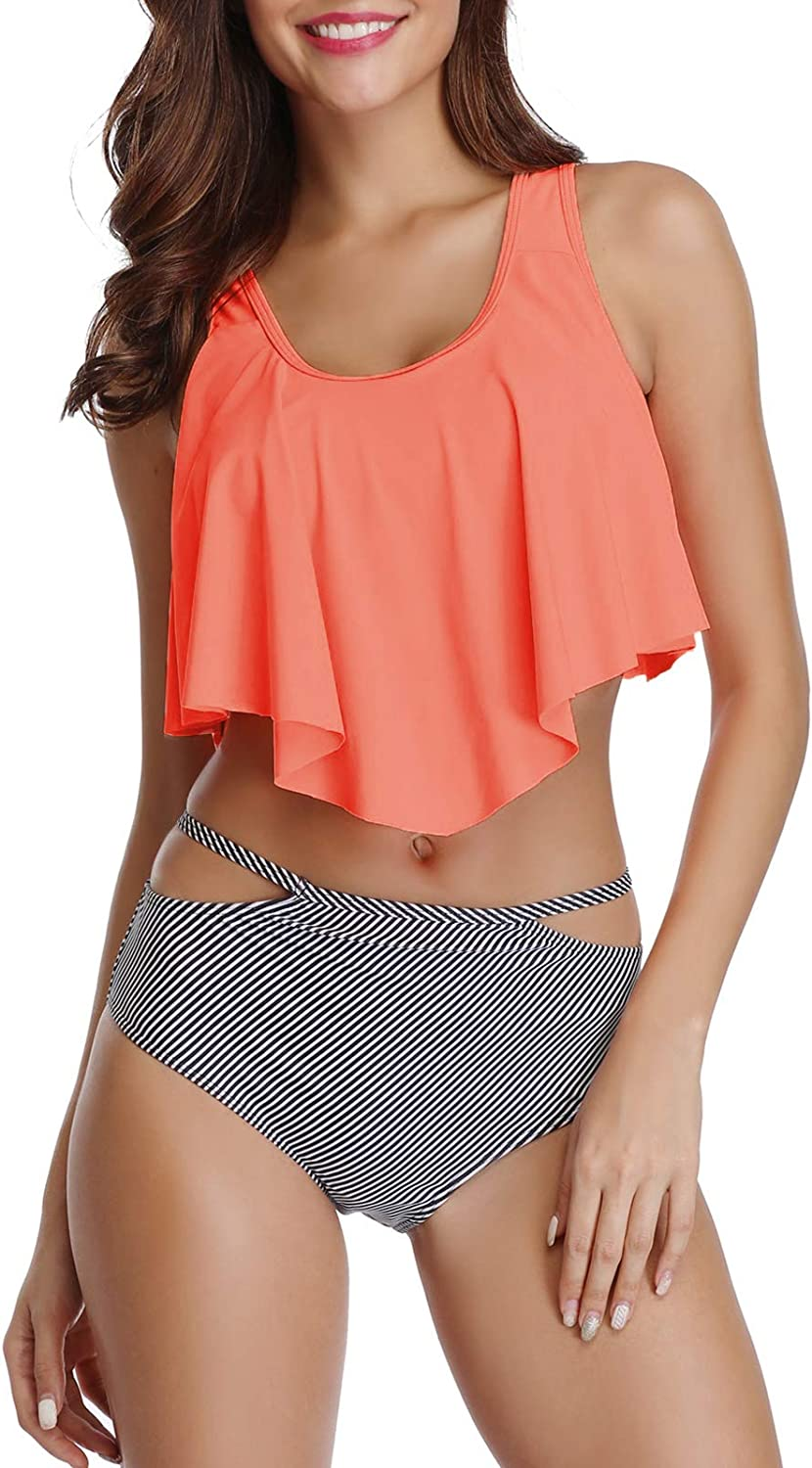 American Trends Womens Tankini Swimsuits Two Piece Bikinis Ruffled Tank Top with Cut Out Bottom Flounce Bathing Suits