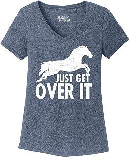 Comical Shirt Ladies Just Get Over It Horse Jump Triblend V-Neck