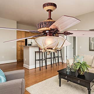 Wellhouse 52'' Rustic Indoor Ceiling Fan With Unique Antler Light Cover and Remote Control 5 Reversible Wood Blades Resin Fans Chandelier For Home Decorative Living Room Bedroom