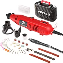 Populo High Performance Rotary Tool Kit with 107 Accessories, 3 Attachments, Variable..