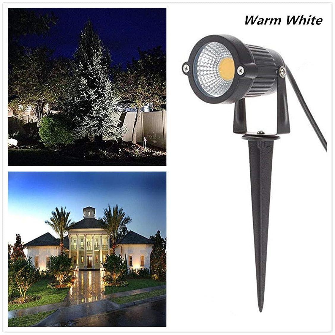 決定的身元雑草RaiFu ガーデンライト 85-265V LED 5W COB グラウンド ランプ 防水 パスライト ガーデンランプ LEDガーデンライト 埋め込み式 外灯 照明 自動点灯消灯 ガーデン、庭、芝生、公園に適応 暖かい ホワイト
