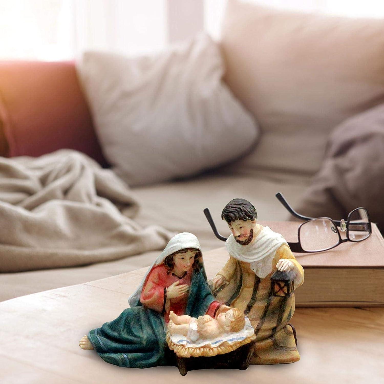 Nativit/é ornement d/élicieux r/ésine d/écoration de la maison cadeau artisanat cr/éatif mode cr/èche vierge marie Statue s/érie religieuse d/écoration de la maison